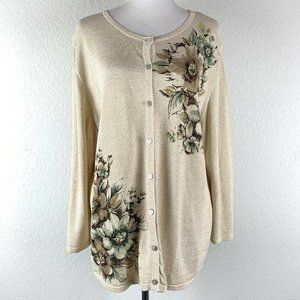 Alfred Dunner Metallic Floral Button Down Cardigan